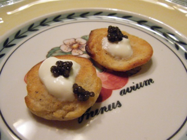 Buckwheat blini with creme fraiche and caviar served with Glenrothes 1991