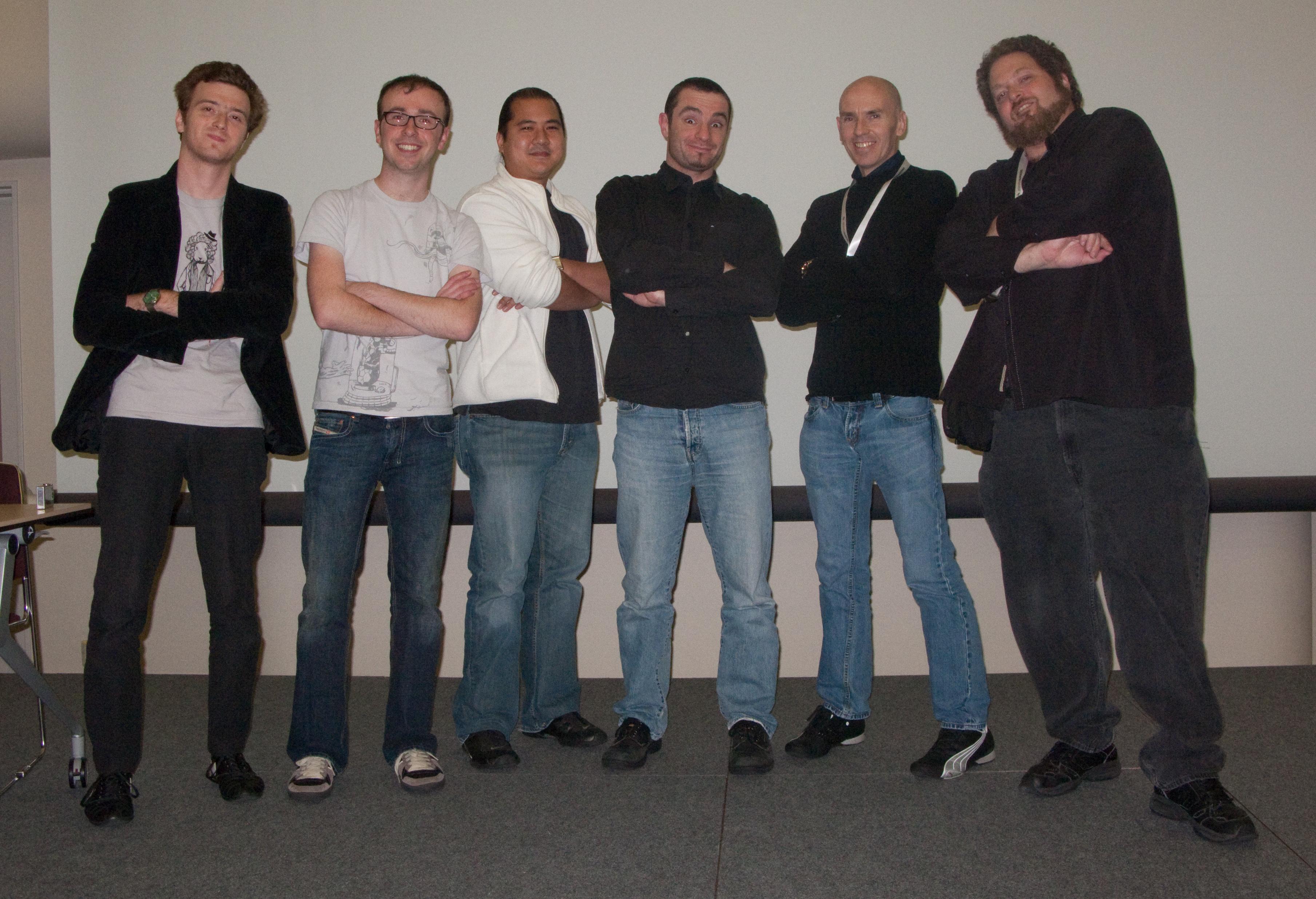 A Fuzz of Crowd Animators L to R: Mihai Cioroba, Paul Kanyuk, Tak Yoshida, Marc Salvati, Stephen Regelous, Xray Halperin